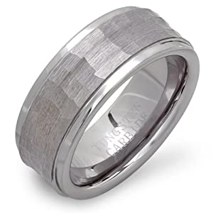 Tungsten Carbide Unisex Wedding Band 9MM Stepped Down Edges Shiny Brushed Hammered Center Size