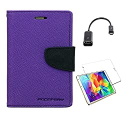 Mercury Goospery Wallet Card Slot Flip Case Cover For SAMSUNG GALAXY TAB A (SM-T355YZAA 8 INCH ) With OTG Cable & Tempered Glass