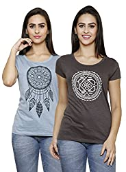 ESPRESSO WOMEN'S PRINTED TOPS-COMBO PACK OF 2-BLUE/GRAPHITE