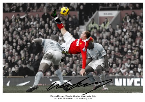 Wayne Rooney Bicycle Kick Poster WAYNE ROONEY WONDER GOAL BICYCLE SCISSOR KICK MANCHESTER UNITED VS