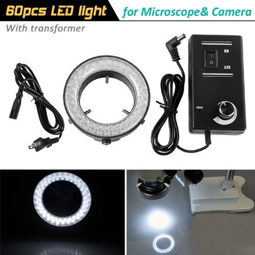 Adjustable 60 Pcs Led Microscope Circle Light Ring Lamp Light For Stereo Microscope And Camera, Come With Transformer (Us Plug)