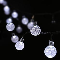 Luckled 20ft 30LED Globe Solar Fairy Bubble Crystal Christmas Lights