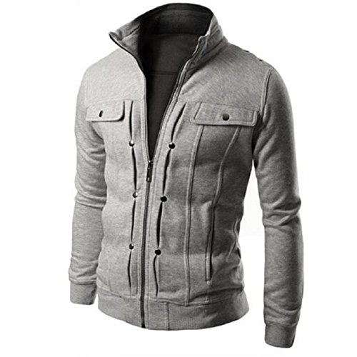 Uomo Slim risvolto Giacche, Sharondar TOP Moda Progettato cardigan cappotto (M, Grigio)