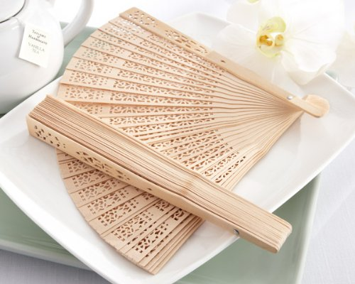 Leegoal Chinese Fans Chinese Sandalwood Scented Wooden Openwork Folding Fan (Set of 12) (Sandalwood Folding Fan compare prices)