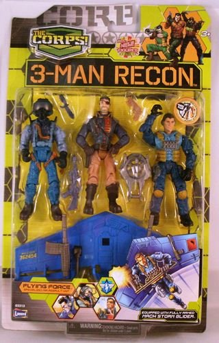 Buy Low Price Lanard The Corps 3-Man Recon Flying Force 3 3/4″ Action Figures with Mach Storm Glider (B002S2PFA8)