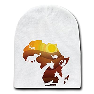 """African Animals"" Sahara Bush Wildlife - White Beanie Skull Cap Hat"