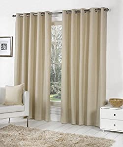 Beige 100% Cotton 46x90 117x229cm Fully Lined Ring Top Curtains Drapes by Curtains