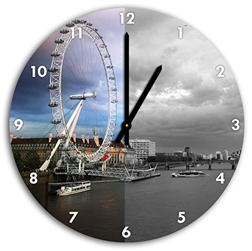 eindruckvolles london eye riesenrad schwarz wei wanduhr durchmesser 30cm mit schwarzen. Black Bedroom Furniture Sets. Home Design Ideas