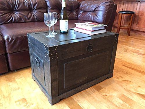 Newport Large Wood Storage Trunk Wooden Treasure Chest - Walnut 0