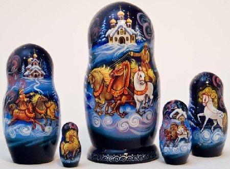 "6"" Winter Troika Doll 5 Piece Russian Wood Nesting Doll"