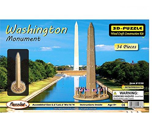 Puzzled Washington Monument 3D Natural Wood Puzzles (34 Piece)