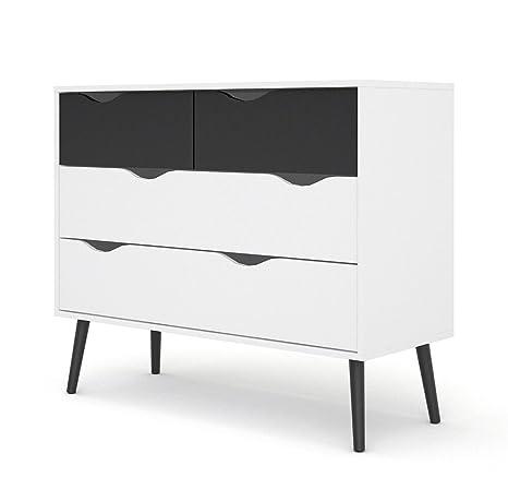 Kommode NAPOLI Sideboard Schrank Buffet schwarz/weiß