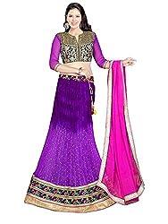 Pushpila Women's Net Semi-Stitched Lehenga Choli with Un-Stitched Blouse (1007Purple_Dark Purple)