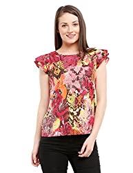 Prym Women's Printed Flutter Sleeve Blouse (1011501704_Multi_Large)