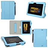 ProCase Slim Leather Case for Amazon Kindle Fire HD 7-Inch Tablet Built-in Smart Cover auto sleep /wake feature (blue) ~ xuan se