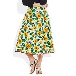 Womens Apparels Cotton Printed Medium Length Skirt A-Line,Large,W-CMLSL-3022