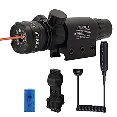 Shockproof 532nm Tactical Red Dot Laser Sight Rifle Gun Scope Rail and Barrel Mounts Cap Pressure Switch by MRJA