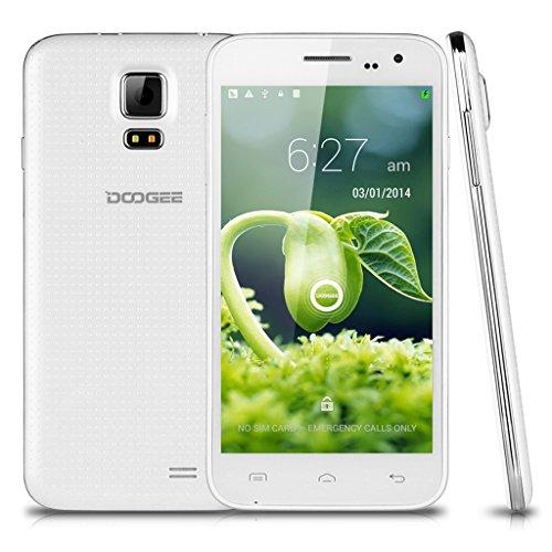 DOOGEE VOYAGER2 DG310 5 '' Android 4.4 Kitkat OS sbloccato Smartphone 3G - LG IPS TouchScreen MTK6582 1.3GHz Quad Core 1G di RAM 8G ROM + Telefono cellulare Dual SIM OTG OTA GPS Dual Camera cellulare [2014 più nuovi versione aggiornata di DOOGEE DG300]-Bianco