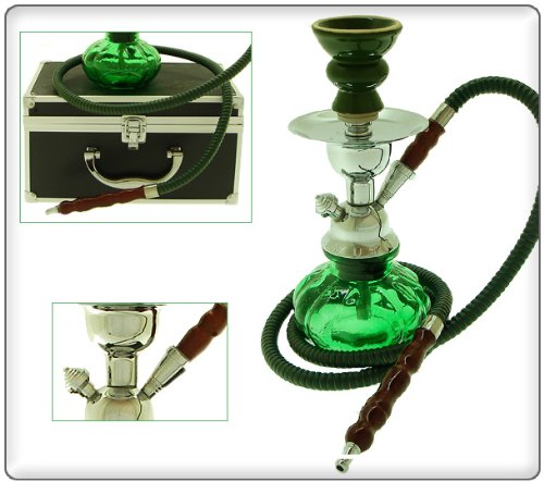 Pumpkin hookah green  traveling case 3 shisha
