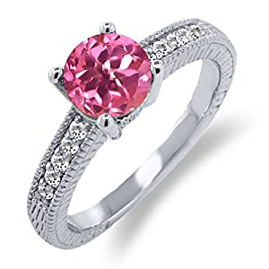 1.65 Ct Round Pink Mystic Topaz White Sapphire 925 Silver Engagement Ring