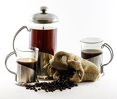 GSG French Coffee Press with Two Matching Cups | Glass & Stainless Steel | Best Coffee Tea & Espresso Maker