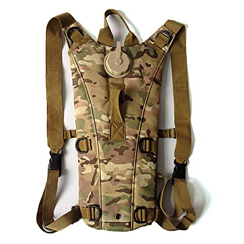 AENMIL Portable Tactical Military Army Style 3L Water Backpack Water Bladder 600D Nylon Water Resistant Water Army Bag with Drinking Tube for Climbing with Small Pouches (CP Camo) (Portable Carrier Phone Chargers compare prices)