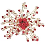 EnyaJewelry Coral Pearl Brooch Pin,Pearl Brooch,Mother's Gift, Gift Jewelry - 3-4mm White Fresh Water Pearl And 3-3.5mm,6-7mm Coral Brooch (Br0107)