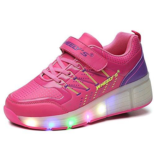 VMATE PU Pink Boy Girl LED Light Up Roller Wheel Skate Sneaker Heelys Sport Shoes Dance Boot (Led Light Up Roller Skate Wheels compare prices)