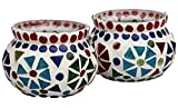 #1 Christmas Decorations - Set of 2 Mosaic Tealight Holder - Candle Tea Light Votive Holders - Decorative Multicolor Earthen Pot Shaped Centerpiece for Room Dining Wedding Parties Garden