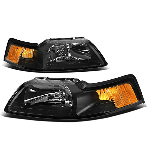 Ford New Edge Mustang Headlights with Amber Reflector (Black Housing) - 4 Gen (Mustang Headlights 99 04 compare prices)