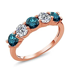 0.79 Ct Round Blue and G/H Diamond 18K Rose Gold Plated Silver Wedding Band Ring