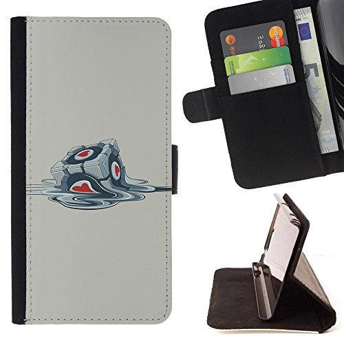 KingStore / Flip Wallet PU Leather Case Cover / Samsung Galaxy A5 ( A5000 ) 2014 Version / Funny Portal Cube