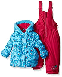 Pink Platinum Baby Girls\' Big Floral Print Snowsuit, Turquoise, 12 Months