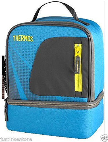 Thermos Insulated Lunch Bag Cooler, Dual Compartment Lunch Kit with Mesh/front Pocket (Navy and Gray) - 1