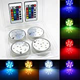 4 Piece 2.8 Inch RGB Submersible LED Light 24 Key 16 Color for Wedding, Christmas, Halloween, Party, Stage, Decor