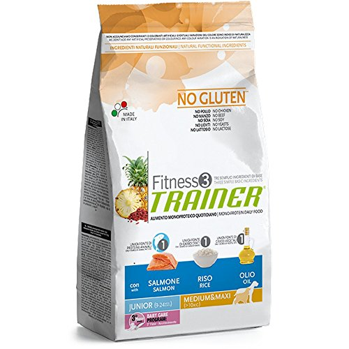 TRAINER Fitness 3 no gluten junior medium&maxi salmone mais olio 3kg