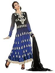 Pavani Women's Georgette Semi Stitched Dress Material (D1400003_Blue_Free Size)