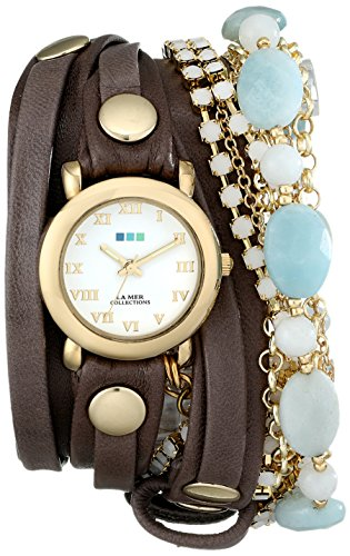 La Mer Collections Women'S Lmmulti7005 Stainless Steel Watch With Brown Leather Wraparound Band
