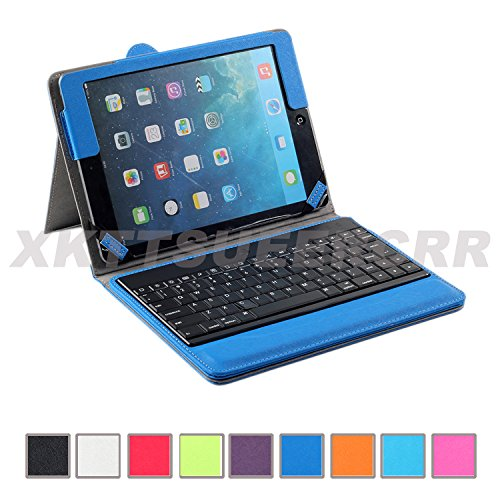 Xkttsueercrr Slim White Color Pu Leather Removable Detachable Wireless Bluetooth Keyboard Abs Plastic Keys And Protective Case For Apple Ipad 5 Ipad Air + Xtek Mousepad