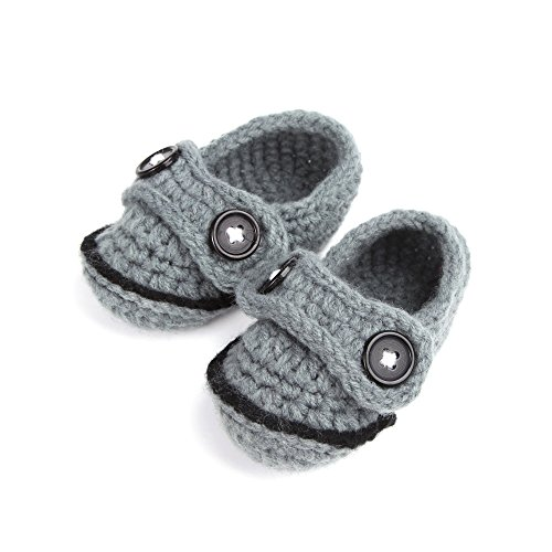 Touch Baby Newborn Infant Crochet Knit Socks Booties Crib Casual Shoes 0-12M (Gray) front-64279