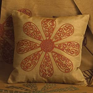"""Sri Lanka Embroidered Floral Gold Decorative Throw Pillow, 10"""" Square"""