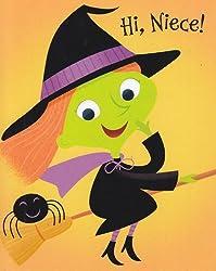 "Greeting Card Halloween ""Hi Niece!"" Swoosh! Swish! A Witchy Wish for Someone.."