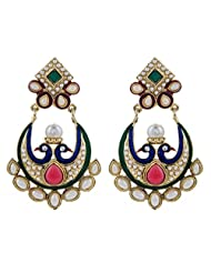 The Jewelbox Gold Plated Pearl Red Green Chaand Bali Peacock Earring For Women