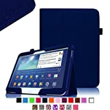 Fintie Folio Slim Leather Case for Samsung Galaxy Tab 3 10.1 inch Tablet Auto Sleep/Wake Book Style Stand Cover with Stylus Loop - Navy