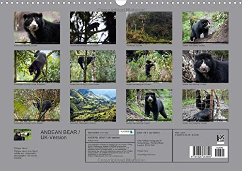 ANDEAN BEAR / UK-Version (Wall Calendar 2016 DIN A3 Landscape): Threatened Species series (Monthly calendar, 14 pages) (Calvendo Places)