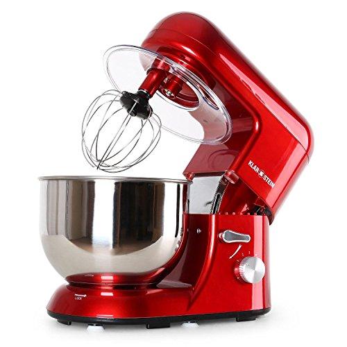 Klarstein-TK-1-Bella-Rossa-Kchenmaschine-Rhrgert-1200-Watt-52-Liter-Edelstahl-Rhrschssel-6-stufige-Geschwindigkeit-rot