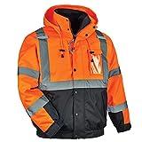 GloWear 8381 High Visibility Reflective Bomber Jacket with Zip-Out Black Fleece, Large, Orange