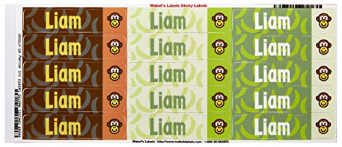 Mabel'S Labels 40845061 Peel And Stick Personalized Labels With The Name Liam And Monkey Icon, 45-Count front-832770