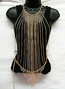 Gold Body Chain Vertically Layered