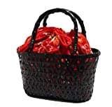 浴衣や夏の着物に似合う 巾着 竹かご バッグ 巾着取り外し可能 桜柄